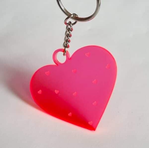 Schlüsselanhänger Neon-Herz Plxeglas
